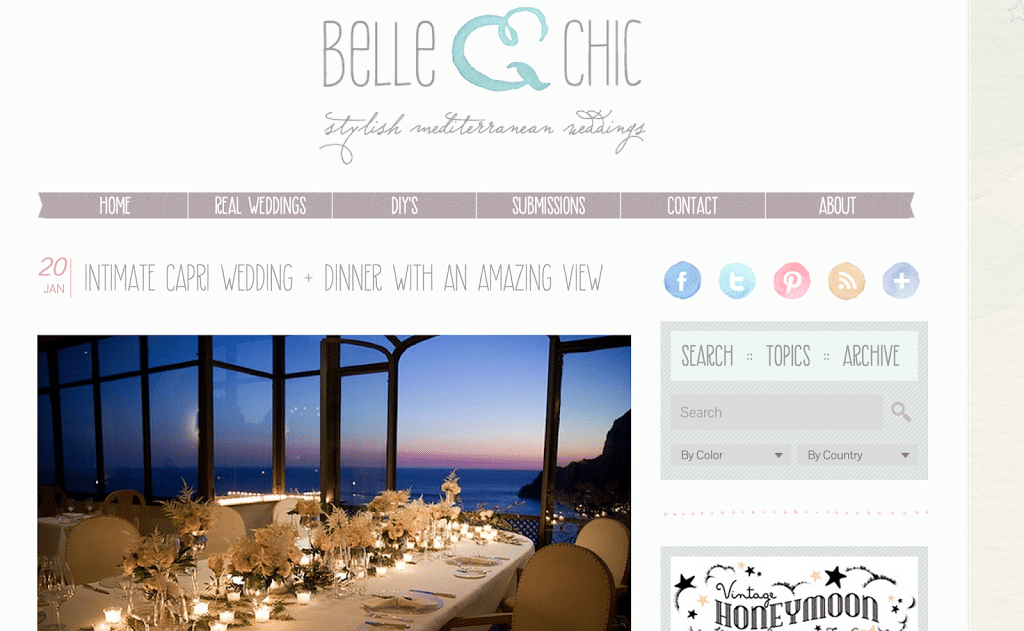 As seen on Belle & Chic and Bride in Italy
