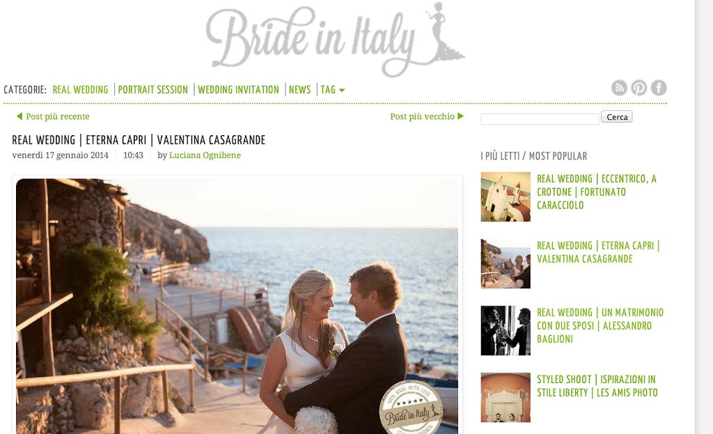 Siamo su Bride in Italy e Belle & Chic!!