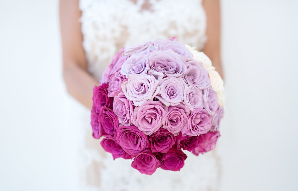 Pink ombre wedding floral bouquet