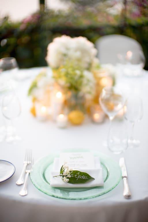 Lemon and peonies floral arrangement