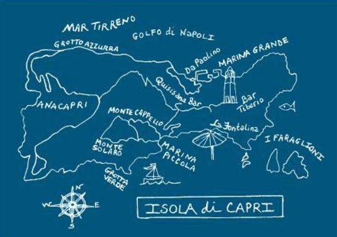 Mappa isola di Capri personalizzata